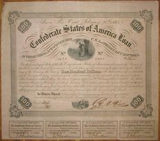 USA - Confederate States of America - 7% Loan (Act of February 20 1863) $100 1863 - Criswell 120