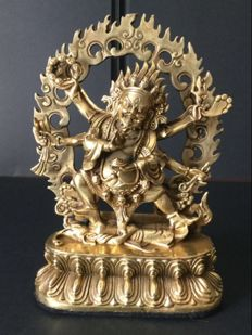 Statuette of Mahakala in gilded copper - Tibet/Nepal - end of 20th century