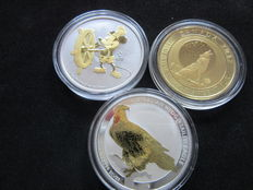 World - Australia (1 Dollar 2017 'Eagle' 1oz), Canada (2 Dollars 2017 'Wolf' ¾oz), Niue (2 Dollars 2017 'Steamboot Willy' 1oz) - Gilt Silver