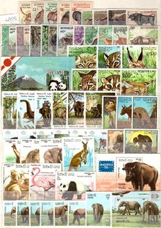 Lot of stamps in complete series and sheets: Thematic: ASIAN FAUNA