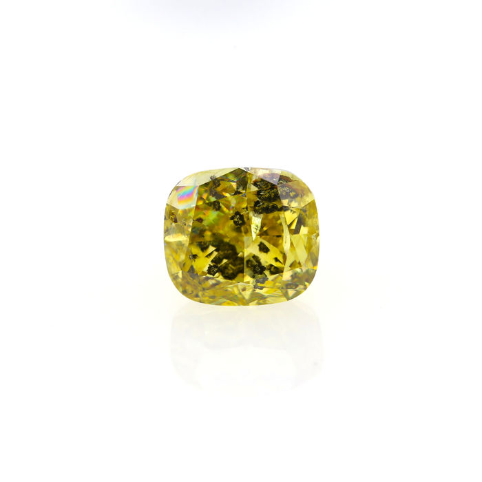 Natural Fancy Deep Brownish Greenish yellow 3.07 ct. Cushion shape Diamond, GIA