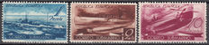 Spain 1938 – Submarine mail with various types of dented perforation in 11 ½  line – Edifil No. 775d , 776d , 779d