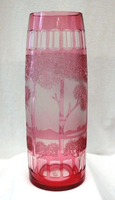 Wilhelm Kralik - Cameo glass vase - Etched decor 'Paysage'