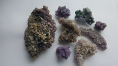 Lot of Double sided botryoidal chalcedony 'grape agate' specimen - 488g (8)