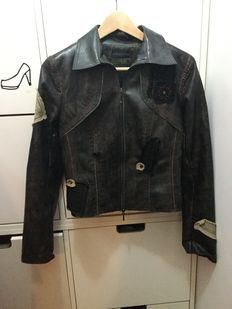 Synthetic brown leather jacket