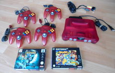 Nintendo 64 clear red watermelon incl Castlevania boxed,  Super Smash Bros and 4 controllers