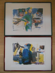 2 framed advertising pictures/sketches of Sabena by Olivier Strelli