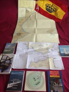 Maritime Lot, nautical Charter, ruler for calculation, Almanac book DvD flag
