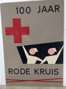 Unique large hand-painted sign on board-100 years of the Red Cross - 1963