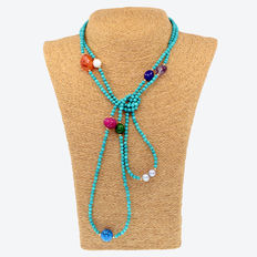 18 kt gold necklace- turquoise beads and multi gemstone beads. Necklace length: 144 cm.