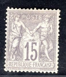 France 1876 - 15c. grey (I) - Yvert n° 66 with certificate from Calves