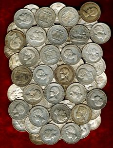 Spain – Set of 100 silver coins of 5 pesetas – Provisional Government (1870),  Amadeo I (1871), Alfonso XII (1875 and 1885*87) and Alfonso XIII (1888 and 1898). (100)