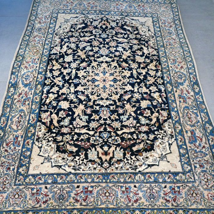 Rare Nain Tudesk, 6La with silk, Persian carpet - 157 x 107 - superior quality - 1,000,000 knots/m2.