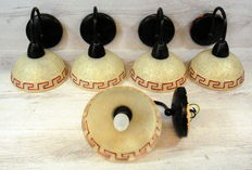 Five wall lamps with Greek motif