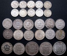 Switzerland – ½ franc through 5 francs 1886/1965 (27 different ones) – silver