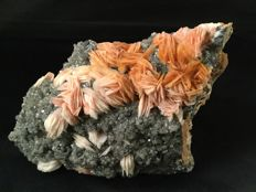 Bright colored Baryte blades with clear crystals of Cerussite  - 15 x 9 x 6 cm - 1165 gm