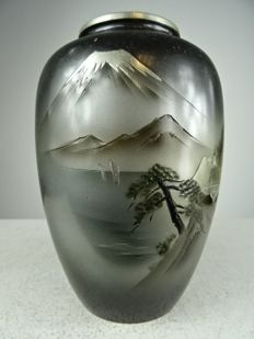 Metal vase with a volcano – Japan – second half 20th century