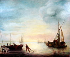 Hermanns, (20th century) - Seascape with fishing boats and people