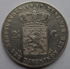 Netherlands – 2½ guilder silver coin from 1847 and 1848, William II.