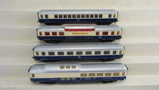 Hornby H0 - 7445/7449/7445/7451 - 4 Rheingold express train carriages 1st class, panoramic carriage and dining carriage of the DB