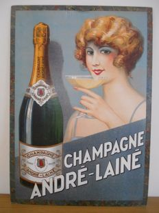 Stylish Billboard for Champagne André -Lainé from 1965