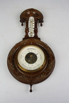 Ornate wooden barometer with thermometer-early 20th century-Netherlands-Alkmaar