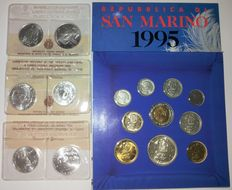 San Marino - dyptich 1986, 1989, 1990 lire 500/1000 + divisional series 1995 (16 coins, of which 7 are silver)