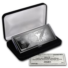 United States - $100 bill made of pure 999 silver, 4 oz 2015 with box and certificate
