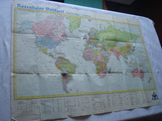 """Third Reich; Old original map, """"Ravensteins Weltkarte"""", with the population of German Empire, Japanese Empire, English Empire, France, United States, Soviet Union, Italy, with the colonies from 1941 WW2"""