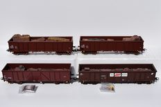 Roco H0 - 47828/66502/66997 - 4 x open wagons with scrap metal cargo of the DR/ÖBB/SNCB