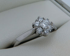 Platinum ring, diamond 0.35 ct - ring size 16.7