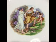 San Cristoforo by Richard Ginori - Rare Greem mythology ceramic plate, depicting Orpheus and Eurydice - Italy