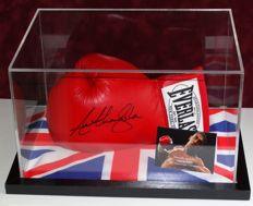 """Anthony """"AJ"""" Joshua original autographed Boxing Glove in Display Case + Certificate of Authenticity"""