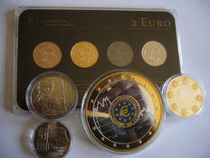Netherlands - 2 Euro 2013 (4 different plated coins) 'Precious Metal Set' + 4 medals (Europe, Netherlands & Malta)