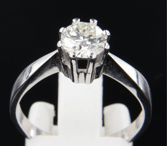 Gold solitaire ring with 1 brilliant cut diamond of 1.00 ct K VVS2, ring size 18 (57)