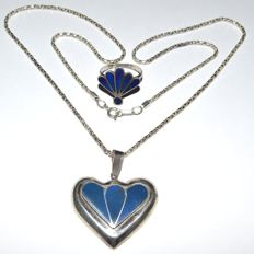 Vintage Afghan Lapis Lazuli 925 Sterling Silver Heart Shape Pendant Necklace with 835 Lapis Ring