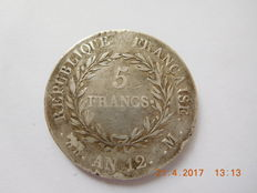 France – 5 francs 'Napoleon' An 12-M Toulouse – Silver