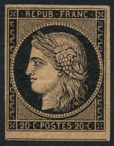 1849 France - 20c black on yellow, mint, signed Maury and Baudot -Yvert No3