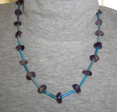 Old Egyptian necklace with amethyst and faience beads. - 53cm