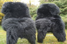 Lot with 2 high-quality and very soft lambskins/sheepskins in black.
