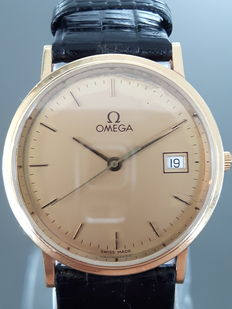 Omega Date, 18 kt gold men´s wristwatch, from around the 1970s