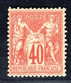 France 1878 - 40 c. Red-Orange Sage Type II - Yv# 70 with certificate from Calves