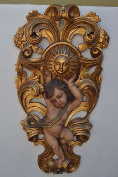 Large Gilt wood carved  religious panel  - Portugal  early 20th century