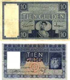 "Netherlands - 10 guilders 1927 ""Zeeland girl"" + 10 guilders 1938 ""old man"" - Mevius 39-2b + 40-1a (2 pieces)"