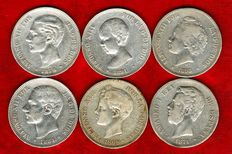 Spain - Set of 6 silver coins of 5 pesetas - Amadeo I (1871*74), Alfonso XII (1878 and 1884) and Alfonso XII (1891, 1893, and 1898). (6).