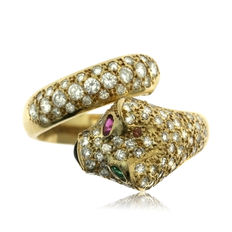 Diamond (106!), Ruby,Sapphire & Emerald Gold Panther Ring - Ring size: 51-16.1-L (UK)