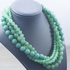 silver 925 silver brooch -  198 g  - Green jade necklace - No reserve price
