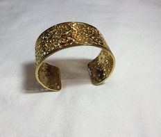 Vintage. MMA yellow  gold plated wide cuff bracelet - Designed for the museum of modern art