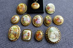 "Collection of 12 various ""Fragonard"" style brooches with gold-plated rim"