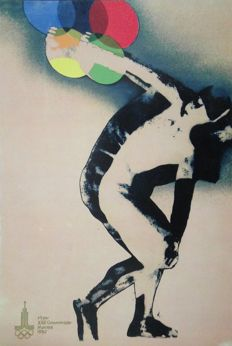 RARE Original Vintage Russian Poster for the Olympic Games Moscow 1980